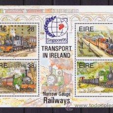 Sellos: IRLANDA HB 18 TRENES VIA ESTRECHA CON SELLO SINGAPORE 95 NUEVO 1995 LUJO VER DETALLE MNH ***. Lote 114237700
