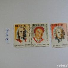 Sellos: 3 SELLOS - IRLANDA, EIRE, 1985, AÑO EUROPEO DE LA MÚSICA, COMPOSITOR, BACH, HANDEL, USADO - CTO (*). Lote 133491782