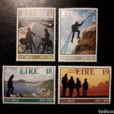 Sellos: IRLANDA. YVERT 446/9 SERIE COMPLETA NUEVA ***. ASOCIACIÓN ALBERGUES JUVENTUD. CICLISMO, ALPINISMO. Lote 151338372