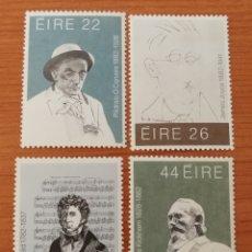 Sellos: IRLANDA: N°468/71 MNH, ESCRITORES Y MÚSICOS AÑO 1982. Lote 161784546