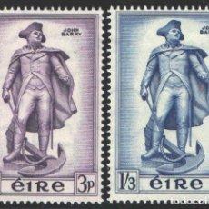 Sellos: IRLANDA, 1956 YVERT Nº 126 / 127 /*/, FUERZAS NAVALES / JOHN BARRY. Lote 199643971