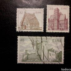 Timbres: IRLANDA YVERT 594/6 SERIE COMPLETA USADA. ARQUITECTURA IRLANDESA. CASAS Y CASTILLO. Lote 206951915