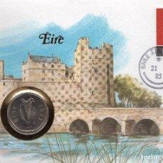 Sellos: IRLANDA NUMISBRIEF 1984 MICHEL 547 + IE 24. Lote 215074305