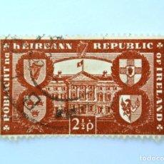 Sellos: SELLO POSTAL IRLANDA 1949 , 2 1/2 P , REPÚBLICA DE IRLANDA, ESCUDOS DE ARMAS, USADO. Lote 233548070