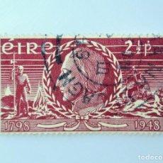 Sellos: SELLO POSTAL IRLANDA 1948 , 2 1/2 P , 150 ANIVERSARIO DE LA INSURRECCIÓN, THEOBALD WOLF, USADO. Lote 233549155