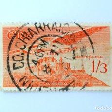Sellos: SELLO POSTAL IRLANDA 1954 , 1/3 CHELÍN ,CORREO AEREO, CAISEAL, ANGEL VICTOR SOBRE CASHEL, USADO. Lote 233564440