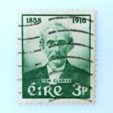 Sellos: SELLO POSTAL IRLANDA 1958 , 3 P , BICENTENARIO DE TOM CLARKE, USADO. Lote 233571580