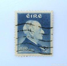 Sellos: SELLO POSTAL IRLANDA 1957 ,3 P , BICENTENARIO DEL LIDER POLÍTICO JOHN REDMOND, USADO. Lote 262765365