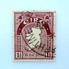 Sellos: SELLO POSTAL IRLANDA 1940 , 1 1/2 P , MAPA, USADO. Lote 233690960