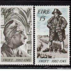 Timbres: IRLANDA 201/02** - AÑO 1967 - TRICENTENARIO DEL NACIMIENTO DEL ESCRITOR JONATHAN SWIFT. Lote 242162170
