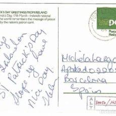 Sellos: IRLANDA. TARJETA ENTERO POSTAL FELICITACIÓN ST. PATRICK'S DAY. CIRCULADA A BARCELONA EN 1984.. Lote 262326880