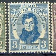 Sellos: IRLANDA 1929 IVERT 55/7 ** CENTENARIO DE LA LIBERTAD DE CULTO CATÓLICO - DANIEL O'CONNELL. Lote 289316943