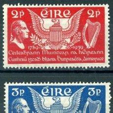 Sellos: IRLANDA 1939 IVERT 75/6 ** 150 ANIVERSARIO CONSTITUCIÓN DE ESTADOS UNIDOS - GEORGE WASHINGTON. Lote 289318988