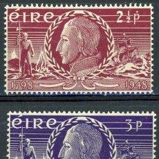 Sellos: IRLANDA 1948 IVERT 106/7 ** 150º ANIVERSARIO DE LA INSURRECCIÓN DE 1798 - THEOBALD WOLFE TONE. Lote 289322573