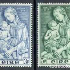 Sellos: IRLANDA 1954 IVERT 122/3 ** AÑO MARIANO - LA VIRGEN Y EL NIÑO DE LUCCA ROBBIA. Lote 289323388