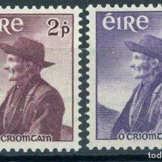 Sellos: IRLANDA 1957 IVERT 130/1 ** CENTENARIO DEL NACIMIENTO DEL ESCRITOR THOMAS O'CROHAN. Lote 289323988