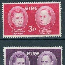 Sellos: IRLANDA 1962 IVERT 153/4 *** CENTENARIO DE LA MUERTE DE LOS ERUDITOS DONOVAN Y CURRY. Lote 289324733