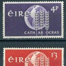 Sellos: IRLANDA 1963 IVERT 157/8 ** CAMPAÑA MUNDIAL CONTRA EL HAMBRE. Lote 289325173