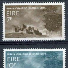 Sellos: IRLANDA 1967 IVERT 197/8 *** AÑO INTERNACIONAL DEL TURISMO - CASTILLO DEL MONTE CASHEL. Lote 289326733