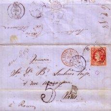 Sellos: ESPAÑA. (CAT. 53).1860. CARTA DE CÁCERES A PARÍS. 12 C. MAT. RUEDA CARRETA 22. ENCAMINADA. RARÍSIMA.. Lote 26609314