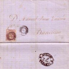 Sellos: ESPAÑA. (CAT. 98). 1869. CARTA DE BARBASTRO A BARCELONA. 50 MLS. MAT. *BARBASTRO/HUESCA*. MAGNÍFICA.. Lote 26581679