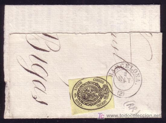 ESPAÑA. (CAT. 35). GRAN FRAG. 1/2 ONZA. MAT. FECHADOR TIPO II DE, BARCELONA/(2). MUY RARO. LUJO. (Sellos - España - Isabel II de 1.850 a 1.869 - Usados)