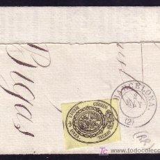 Sellos: ESPAÑA. (CAT. 35). GRAN FRAG. 1/2 ONZA. MAT. FECHADOR TIPO II DE, BARCELONA/(2). MUY RARO. LUJO.. Lote 26562832