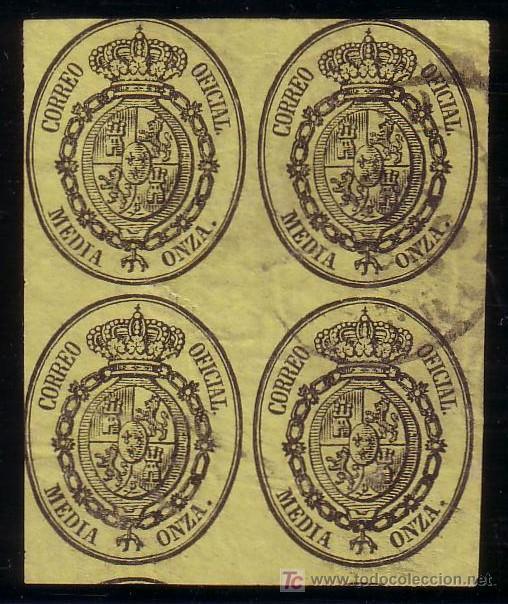 ESPAÑA. (CAT. 35 (4)). 1/2 ONZA. BLOQUE DE 4. MAT. FECHADOR OVALADO * MADRID/FRANCO *. MUY RARO. (Sellos - España - Isabel II de 1.850 a 1.869 - Usados)