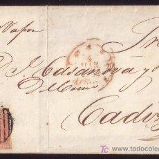 Sellos: ESPAÑA.(CAT.12). 1852. CTA. D ALICANTE/CÁDIZ. 6 CTOS. CORREO MARÍTIMO. MNS. *PR.VAPOR* CABOTAJE.RR.. Lote 27118065