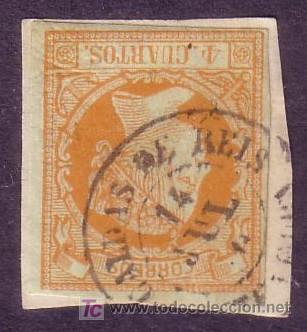 ESPAÑA.(CAT. 52). 4 CTOS. SOBRE FRAGMENTO. MAT. FECHADOR DE, * CALDAS DE REIS/PONTEVEDRA *. BONITO (Sellos - España - Isabel II de 1.850 a 1.869 - Usados)