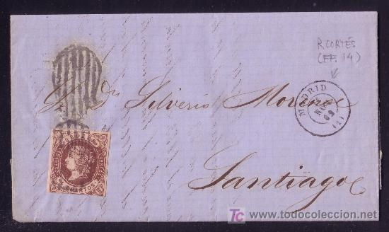 ESPAÑA. (CAT. 58A). 1862. CARTA DE MADRID A SANTIAGO. 4 CTOS. MAT. * PARRILLA DE 1852 *. MUY RARA. (Sellos - España - Isabel II de 1.850 a 1.869 - Cartas)