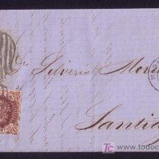 Sellos: ESPAÑA. (CAT. 58A). 1862. CARTA DE MADRID A SANTIAGO. 4 CTOS. MAT. * PARRILLA DE 1852 *. MUY RARA.. Lote 22948742