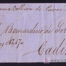 Sellos: ESPAÑA. 1861. CARTA DE SEVILLA A CÁDIZ. CIRCULADA POR CONDUCTOR * ...LLEVA PORTE PAGADO *. RARÍSIMA.. Lote 24223455