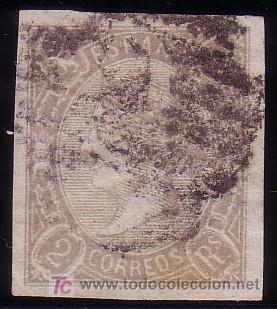 ESPAÑA. (CAT. 73/GRAUS 91-I). 2 R. FALSO POSTAL. MAT. P. CON C. 2 DE BARCELONA. BONITO Y MUY RARO. (Sellos - España - Isabel II de 1.850 a 1.869 - Usados)