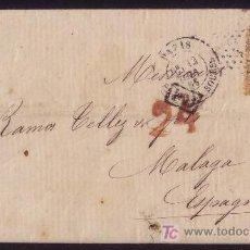 Sellos: FRANCIA/ESPAÑA(CAT.23).1866.CARTA.PARIS A MÁLAGA(ESPAÑA).40C.MARCA DE TASA ESPAÑOLA *24* CUARTOS.RR.. Lote 26608793