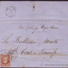 Sellos: ESPAÑA.(CAT.48).1859.CARTA DE SEVILLA A TENERIFE(CANARIAS).4 C.MAT. R C Y FECHADOR.MNS.VAPOR CORREO.. Lote 26634598