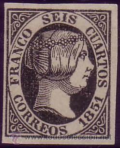 ESPAÑA. (CAT. 6). (*) 6 CUARTOS. NEGRO. FALSO SEGUI. LUJO. (Sellos - España - Isabel II de 1.850 a 1.869 - Nuevos)