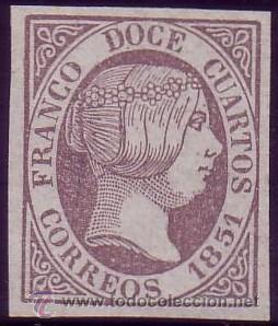 ESPAÑA. (CAT. 7). (*) 12 CUARTOS. VIOLETA. FALSO SEGUI. LUJO. (Sellos - España - Isabel II de 1.850 a 1.869 - Nuevos)