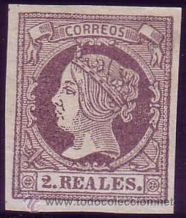 ESPAÑA. (CAT. 56). (*) 2 RLS. VIOLETA. FALSO SEGUI. LUJO. (Sellos - España - Isabel II de 1.850 a 1.869 - Nuevos)