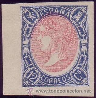 ESPAÑA. (CAT. 70). (*) 12 CTOS. AZUL Y ROSA. FALSO SEGUI. ESQUINA DE PLIEGO. LUJO. (Sellos - España - Isabel II de 1.850 a 1.869 - Nuevos)