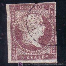 Sellos: ESPAÑA.- EDIFIL Nº 42, MATASELLADO CON FECHADOR TIPO II EN NEGRO ( TORT 144 ), UN MARGEN JUSTO. Lote 13942435