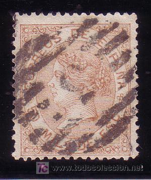 CADIZ.-MATASELLO PARRILLA NUMERADA DE CADIZ SOBRE SELLO 96. (Sellos - España - Isabel II de 1.850 a 1.869 - Usados)