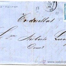 Sellos: CARTA CIRCULADA CON 4 CUARTOS ISABEL II 1866 Nº 81 DE BILBAO A TORDESILLAS - VALLADOLID. FECHADOR. Lote 27242743