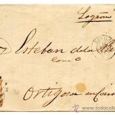 Sellos: ENVOLTURA DE CARTA CIRCULADA CON 50 M. ISABEL II 1867 Nº 96 DE SEVILLA A ORTIGOSA DE CAMEROS LOGROÑO. Lote 34895352
