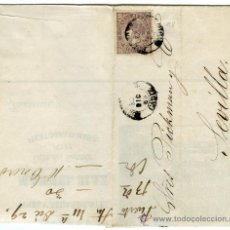 Sellos: BONITA CARTA COMERCIAL FACTURA , ISABEL II 1868 Nº 98 DE PUERTO SANTA MARIA (CADIZ) INTERIOR GRABADO. Lote 27242740