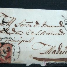 Sellos: ESPAÑA (CAT. 40) CARTA POSTAL CIRCULADA DE BARCELONA A MADRID CON MATASELLOS DE RUEDA DE CARRETA. Lote 26447154
