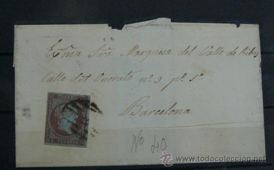 ESPAÑA (CAT. 40) CARTA CIRCULADA DE LA MARQUESA DEL VALLE DE RIBAS EN BARCELONA (Sellos - España - Isabel II de 1.850 a 1.869 - Cartas)