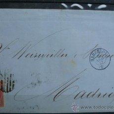 Sellos: ESPAÑA (1857) CARTA POSTAL CIRCULADA DE BARCELONA A MADRID CON MATASELLOS AZUL. Lote 26428622
