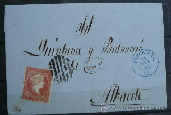 ESPAÑA (18 FEBRERO 58) CARTA POSTAL CIRCULADA DE BARCELONA A ALBACETE CON MATASELLOS AZUL Y NEGRO (Sellos - España - Isabel II de 1.850 a 1.869 - Cartas)