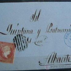Sellos: ESPAÑA (18 FEBRERO 58) CARTA POSTAL CIRCULADA DE BARCELONA A ALBACETE CON MATASELLOS AZUL Y NEGRO. Lote 26428621